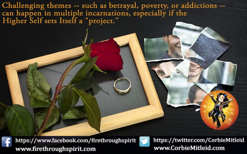A red rose, a wedding ring and torn photographs speak of betrayal from past lives