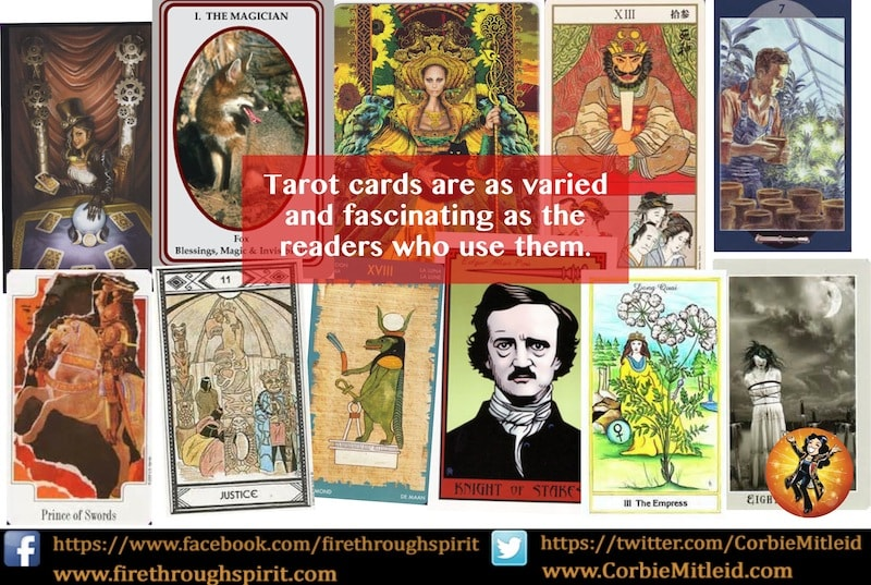 A number of Tarot cards from the decks in the article